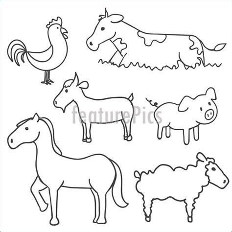 illustration  hand drawn farm animals