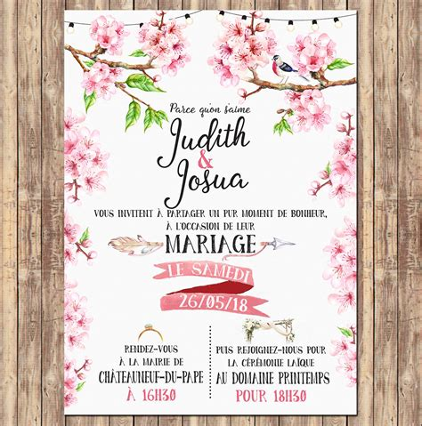 texte de faire part mariage romantique faire part mariage invitation fleurs de cerisier aquarelle