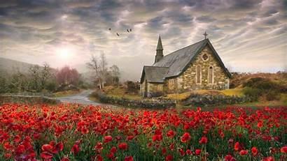Ireland Spring Irish Landscape Church Flowers Wallpapers