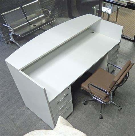 white reception desk rectangular white reception desk w frosted glass panel