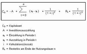Kapitalwert Berechnen Formel : kapitalwertmethode ~ Themetempest.com Abrechnung