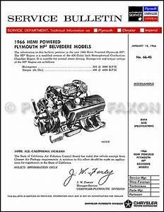 1966 Plymouth Belvedere Hemi Hp2 Repair Manual 66 Engine