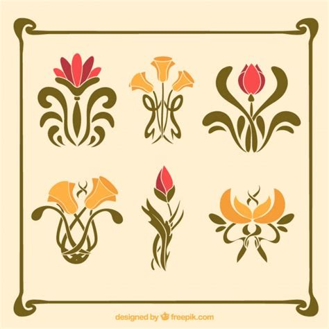 liberty flowers pack of flowers in nouveau style vector free