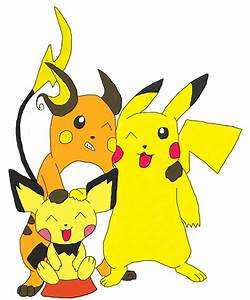 Pichu Pikachu and Raichu bros. by wolfwithin7 on DeviantArt