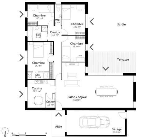 plan maison plain pied 4 chambres garage plan maison plain pied en l avec 4 chambres ooreka
