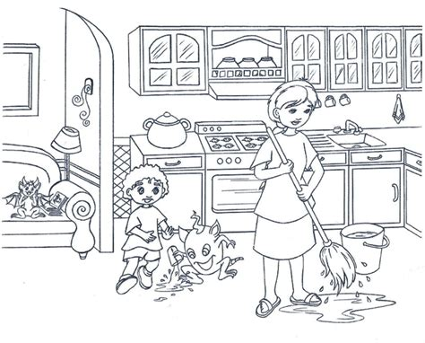 top  clean  beautiful kitchen coloring pages