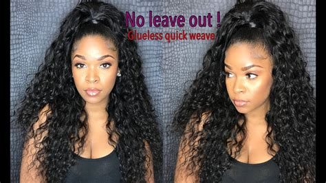 How To Do Half Up/down Glue-less Quick-weave With No Leave