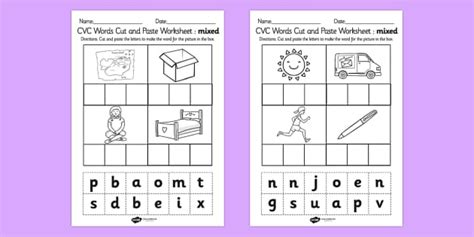 cvc words cut and paste activity sheets mixed cvc word cut