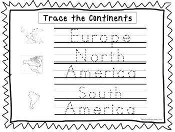 trace  continents worksheets preschool kdg geography