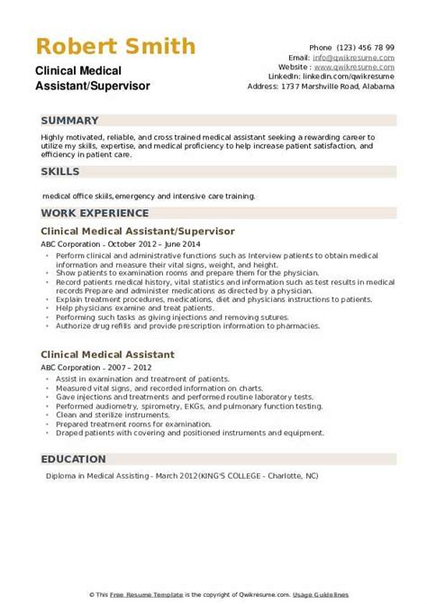 clinical medical assistant resume samples qwikresume