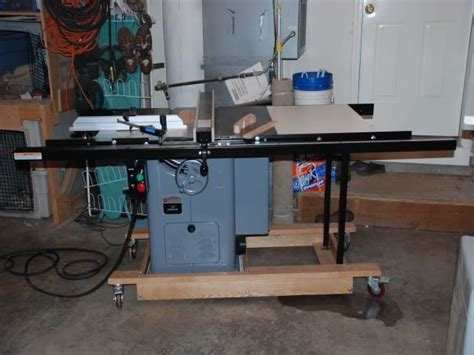 homemade mobile base  unisaw   table