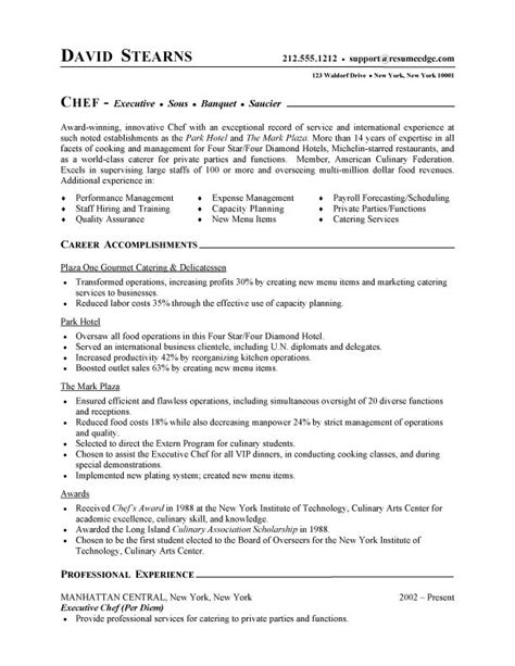 Chef Resume Sle by Professional Resume Cover Letter Sle Chef Resume