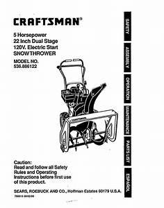Craftsman 536886122 Gas Snowblower Parts