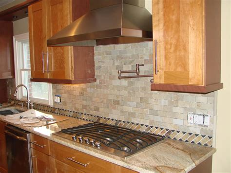 Kitchen Back Splash In Natural Stone Brick Pattern  Yelp