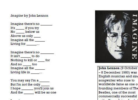 song worksheet imagine  john lennon