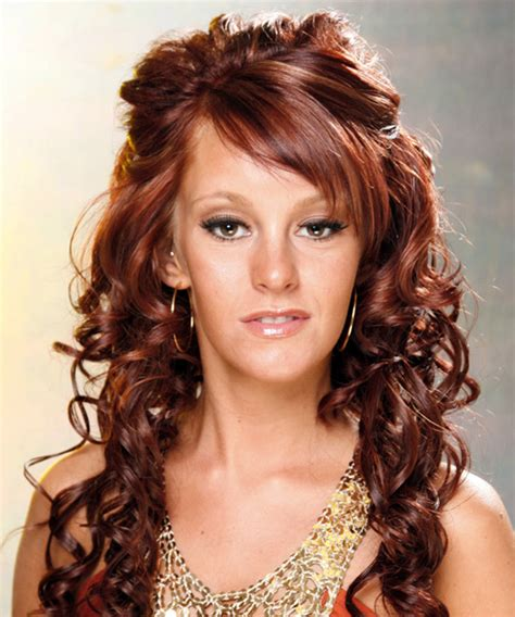 formal long curly half up hairstyle mahogany red hair color