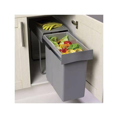 meuble bas de cuisine blanc poubelle encastrable coulissante 1 bac 40 litres