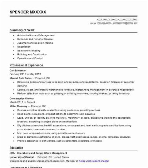 Car Salesman Resume Exle by Car Salesman Objectives Resume Objective Livecareer