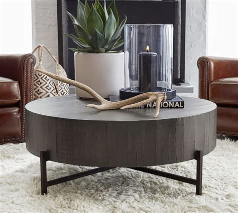 """The round chat table offers practically unlimited style and function and is available in six color choices. Fargo 40"""" Round Reclaimed Wood Coffee Table   Pottery Barn"""