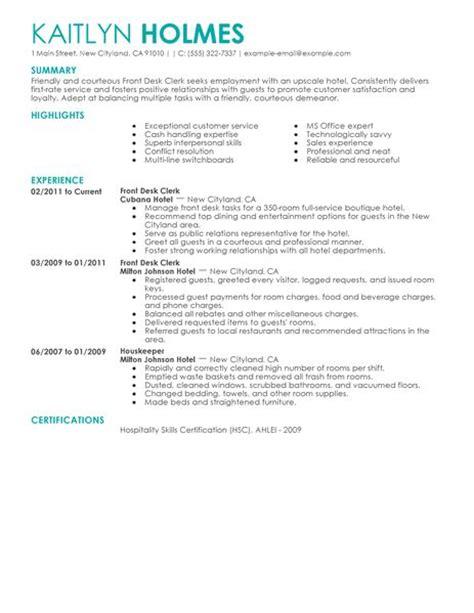 hotel front desk resume best front desk clerk resume exle livecareer