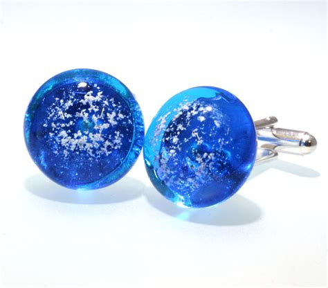sky blue cufflinks ash2glass a service for pet