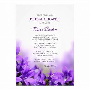 floral bridal shower invitation with purple flower 5quot x 7 With purple wedding shower invitations