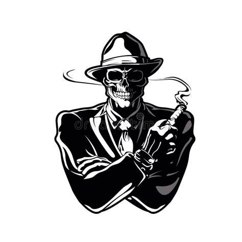 gangster skull cartoon stock illustration illustration