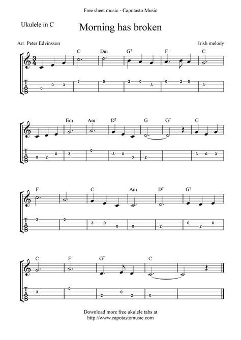4 chords for 30 songs. Free Ukulele Sheet Music   Free Sheet Music Scores: Morning has broken, free ukulele tab sheet ...
