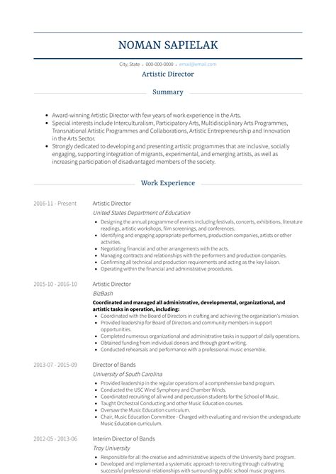 Artistic Resume by Artistic Director Resume Sles And Templates Visualcv