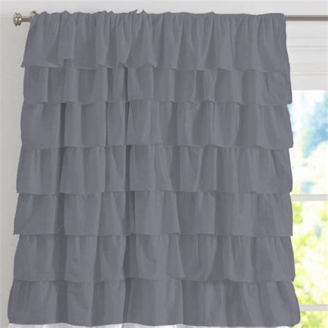 grey ruffle blackout curtains grey shabby chic chiffon ruffle layered curtain