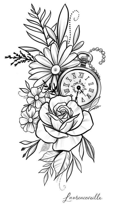 rose daisy flower clock tattoo design @laurenceveillx   Coloring Pages   Clock tattoo design