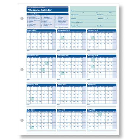 employee attendance calendar academic year