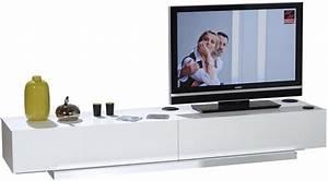 Meuble Tv Banc : banc tv blanc laqu moderne sona ~ Teatrodelosmanantiales.com Idées de Décoration
