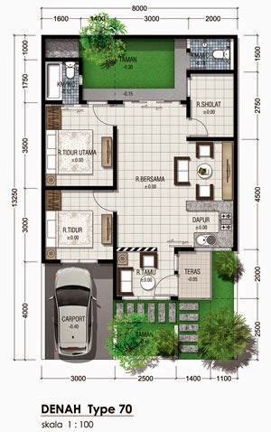 denah rumah minimalis type   lantai   desain