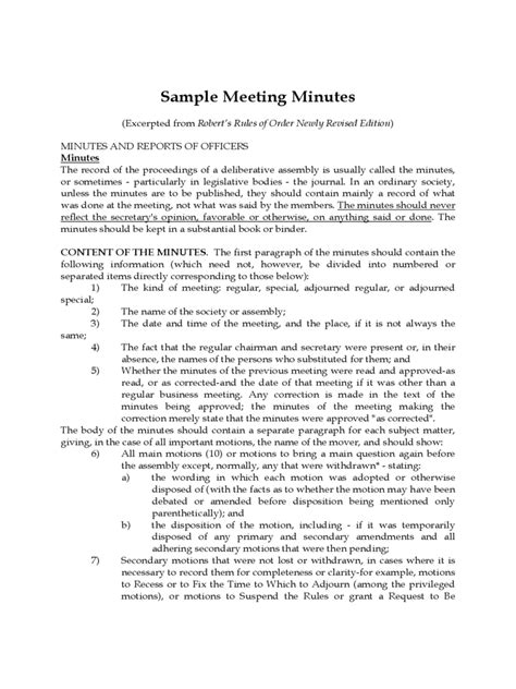 sample meeting minutes template   templates