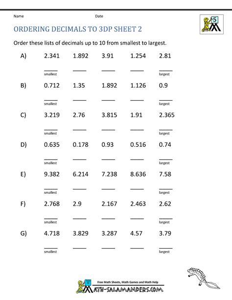 ordering decimals  dp