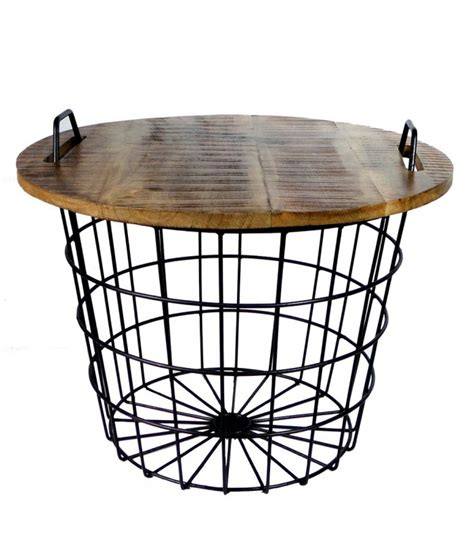 industrial coffee table made of wood and metal flexo wadiga
