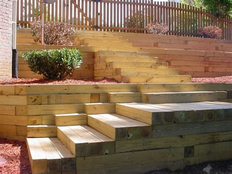 wood retaining wall ideas landscape designs  great visual appeal