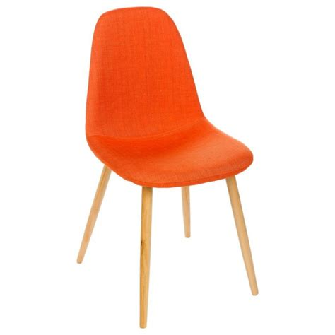 chaises orange chaise design scandinave orange pieds en bois hetre nokas