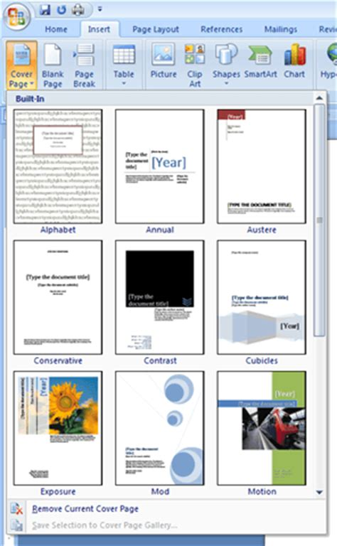 Build Document Template by Add A Cover Page To A Word Document