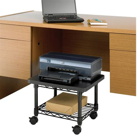 desk with printer cabinet safco products 5206bl under desk printer machine stand