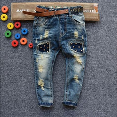 Ripped jeans for kids 2015 kids Fashion denim clothing baby boy jeans for children brand slim ...