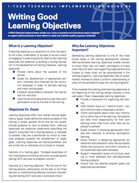 How To Write An Effective Objective In A Resume by Writing Learning Objectives