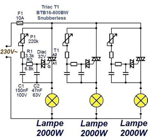 cuisine canal variateur de lumière 3 x 2000w schéma