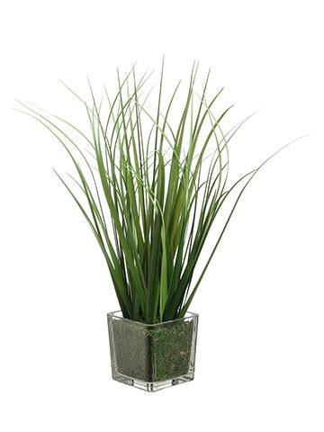 artificial  grass  glass vase green silk flower depot
