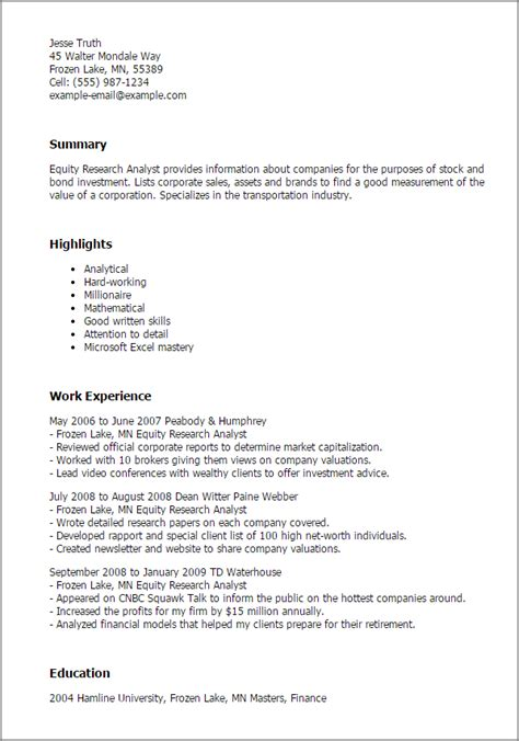 financial researcher cover letter 1 equity research analyst resume templates try them now