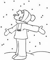 Coloring Winter Pages Snowflake Catching Printable sketch template