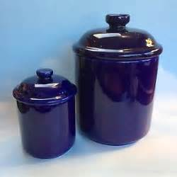 kitchen canisters canada set of two vintage cobalt blue ceramic pottery kitchen canisters