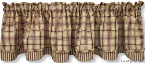 Country Kitchen Curtains And Valances stanton lined layered curtain valance