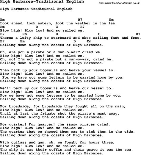 Summer Camp Song, High Barbareetraditional English, With Lyrics And Chords For Ukulele, Guitar